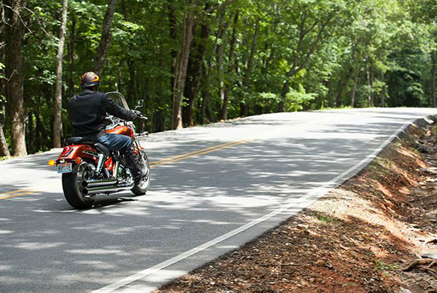 Motorcycle riding through Monte Sano State Park, Alabama